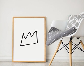 Crown Print - Crown Art - Nursery Print - Nursery Decor - Hand Drawn Crown Print - Black and White Illustration - Illustration
