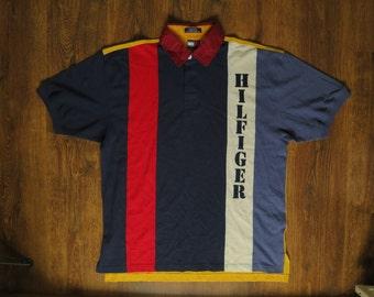 Tommy Hilfiger t-shirt, vintage Tommy shirt of 90s hip-hop clothing, 1990s hip hop, old school, OG, gangsta rap, size L Large