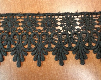 "Gorgeous 2 3/4"" Wide Rayon Venice Lace Trim in Black - 1 Yard"