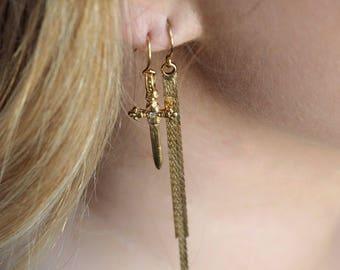 gold tassel earrings long gold earrings gold dangle earrings gold taasel jewelry delicate gold earrings