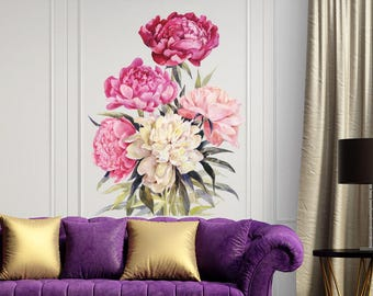 Peony Wall Decals   Full Color Peony Wall Mural   Peony Decor   Peony Wall  Art   Flower Mural   Floral Wall Decals   Girl Decals NC11