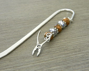 Pliers Bookmark Shepherd Hook Bookmark Copper and Silver Color Beads Steel Silver Plated Tool Bookmark