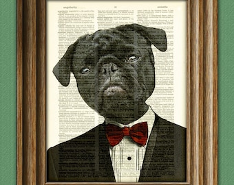 Black Pug dog art print in a tuxedo illustration beautifully upcycled dictionary page book art print