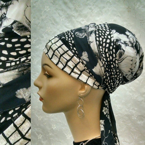NEW**Gorgeous Black and off white sinar tichel, tichels, head wrap, head scarf, Jewish head covering, hair snood, chemo scarf, alopecia,