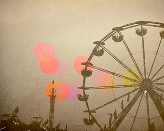 Ferris Wheel Photograph - Carnival Art - Fair Print - Return to Summer - Fine Art Photography - Summer Art - Pink Print - Neutral Decor