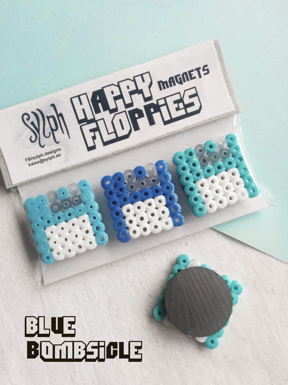 Blue Bombsicle, set of 3 Happy Floppies magnets made of Hama Midi Perler Beads in retro games' style for computer geeks!