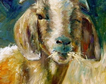 Winky - original oil painting, farm goat, farmyard art