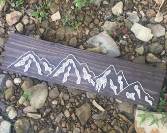 Mountain range string art sign