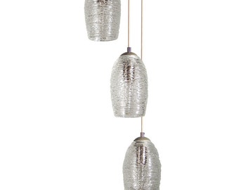 Spun Glass Cacoon Clear Cluster Pendant Chandelier Hand Blown Custom Lighting by Providence Art Glass and Lighting