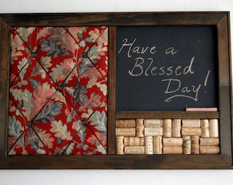 Autumn Decor Burgundy French Memo Board, Wine Corkboard U0026 Chalkboard Kitchen  Wall Organizer,
