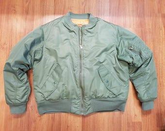 Vintage Flying Mans MA-1 Bomber Jacket Reproduction, Olive Green MA-1 Jacket, Reversible Jacket, Size Mens Large