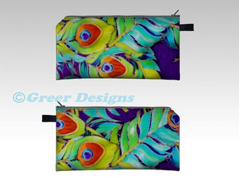 """Peacock Feather Silk Painting Bright and Colorful Cosmetic Makeup Pencil Case Bag pouch 7x4"""" Teacher Gift"""