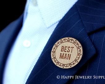 Personalised Wedding Wooden Badges, Groom & Bride to Be, Best Man, Maid of Honour, Bridesmaid(WT02)
