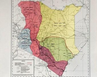 Vintage kenya map Etsy