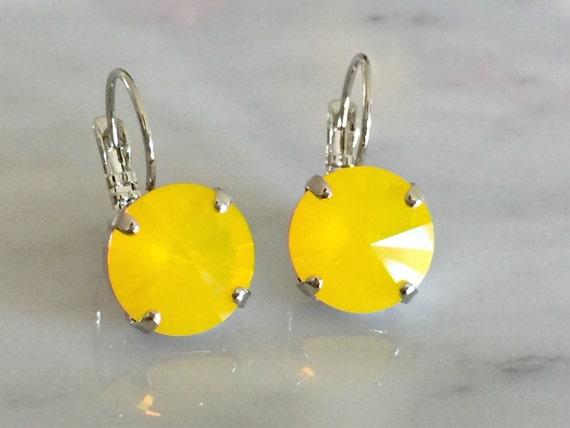 Yellow Opal Swarovski Crystal Earrings, Silver