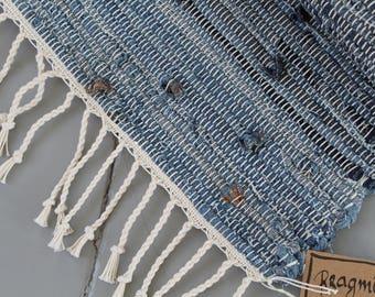 Denim rag rug, recycled jeans, blue