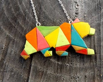 Necklace geometric bear multicolored and golden