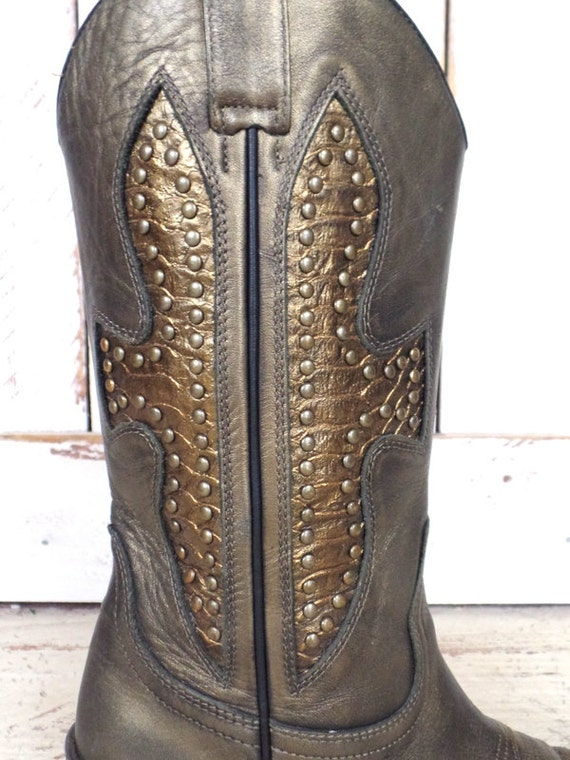 studded heel cowboy western boots gold Pair cross bronze mid pointy boots Vintage metallic Wild cowboy leather WnavxIO