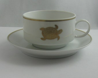Rosenthal Germany. Porcelain soup cup with saucer. Decor: turtle. For turtle soup. Vintage