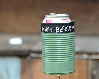 Chalk Top Hobo Tin Can Beer Holder/ Chalk Top Garden Drink Holder/ Tin Can Beverage Holder- Green, Red, Yellow or Navy Blue