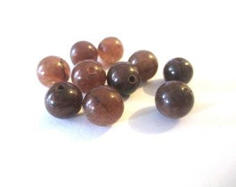 10 pearls 8mm Brown natural jade (1)