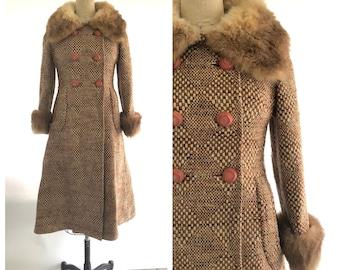 70s wool coat | vintage wool coat fur collar | 1970s wool trench coat