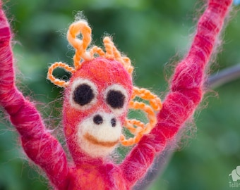 Felted orangutan -Chilli. Puppet, Marionette. Felt toy. Art Toy. Felted Animal. red, orange. MADE TO ORDER