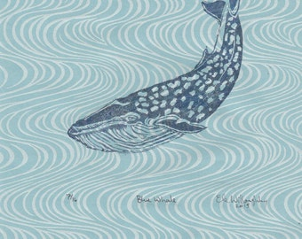 "Blue Whale Linocut on Wave Pattern Japanese Paper - Printmaking Lino Block Print Blue Whale - 8.5"" x 11"""