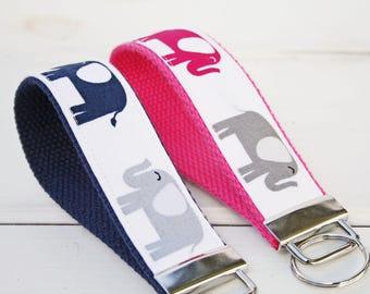 Elephant Key Fob, KeyRing, Elephant Key Ring, Pink Elephant  KeyChain,  wristlet key fob, Blue Elephant Keychain,hostess gift, teacher gift