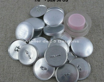 """10 Cover Buttons 7/8"""" (Size 36) with assembly tool"""