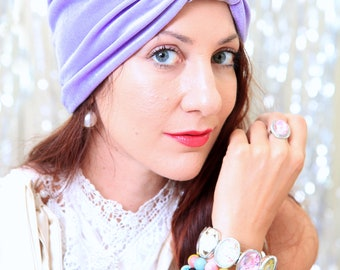 Turban Headwrap in Lavender Velvet - Women's Fashion Hairwraps - Full Turbans - Turban Hats - Lots of Colors