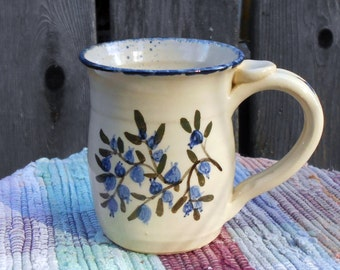 Handmade pottery cup painted in blueberries - 12 oz - handpainted ceramic mug - handmade pottery coffee cup - pottery mug - bb11034
