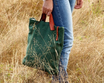 Green cotton and leather tote bag