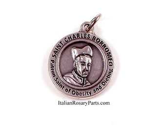 St Charles Borromeo Silver Medal Patron Saint of Dieting and Weight Loss | Italian Rosary Parts