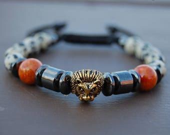 Lion Bracelet,Jasper Beads,Magnetic Hematite,Shamballa Bracelet,Mens Lion Bracelet,Lion head,Gift for Him,Bracelet for Men,Lion Bracelet