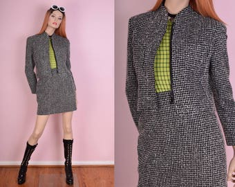 90s Black and White Tweed Suit/ US 8/ 1990s/ Jacket/ Skirt