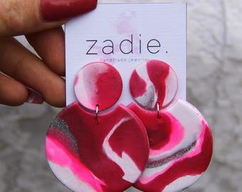 Pink silver round earrings, dangle earrings, drop earrings, pink dangles, unique earrings, made by the zadie store, marble effect