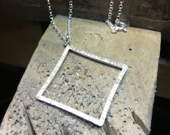 Rain Square Sterling Silver Textured Pendant with sterling silver chain