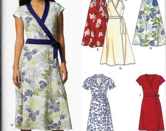 New Look 6674 Front Wrap DRESS Sewing Pattern UNCUT Size 10, 12, 14, 16, 18, 20, 22