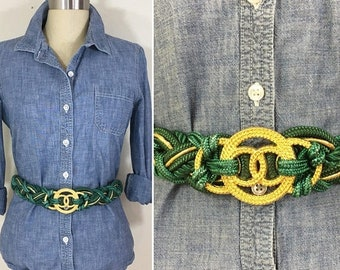 30% Off Sale 90s Green and Gold Woven Rope Belt, Size XL to 1X