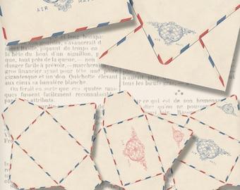 Vintage Air Mail Envelopes Printable Envelopes printable paper craft art hobby crafting instant download digital collage sheet - VD0772
