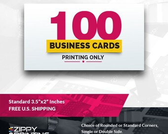"""100 Standard Printed Business Cards 3.5"""" x 2"""",Business Cards Printing Rounded Corners, Matte or Glossy"""