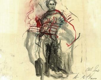 """Originalzeichnung, """"Hommage à Matisse X"""", Mischtechnik auf Papier, 33x38 cm"""