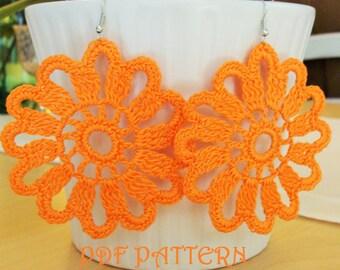 Crochet Flower Earrings PDF Pattern Madrid