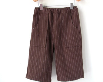 Baby Pants - Size 12 Month - Brown PInstripe with Elastic Waist