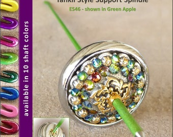 Support Spindle (Tahkli Style) - No. 546 - Chrome and Crystals 1.2 in. Whorl- FREE SHIPPING