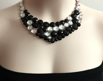 Jet black and clear rhinestone bib tulle necklace