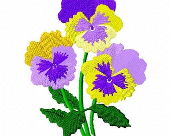 Pansy Flower Embroidery Design - Instant Download