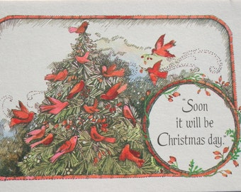 Vintage Red Bird Christmas Cards, Unused Christmas Tree, Lot of 4 Christmas Cards