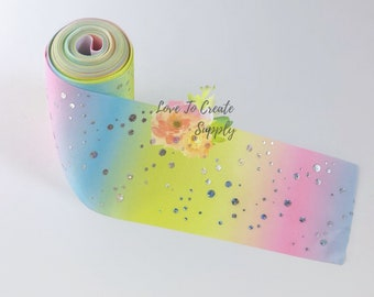 "3"" rainbow with silver dots ribbon"